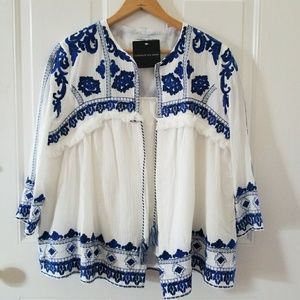 New blue and white bohemian light-weight jacket